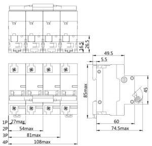 Автоматический выключатель SN серии NDM1-125 1 полюс 2 полюса 3 полюса 4 полюса
