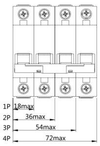 Автоматический выключатель SN серии NDM1-63 размер спереди