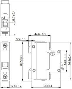Автоматический выключатель SN NDM1T-63 серии MCCB 1 полюс размеры
