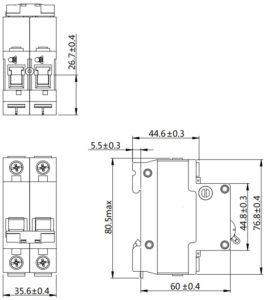 Автоматический выключатель SN NDM1T-63 серии MCCB 2 полюса размеры