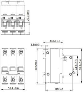 Автоматический выключатель SN NDM1T-63 серии MCCB 3 полюса размеры