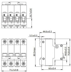 Автоматический выключатель SN NDM1T-63 серии MCCB 4 полюса размеры