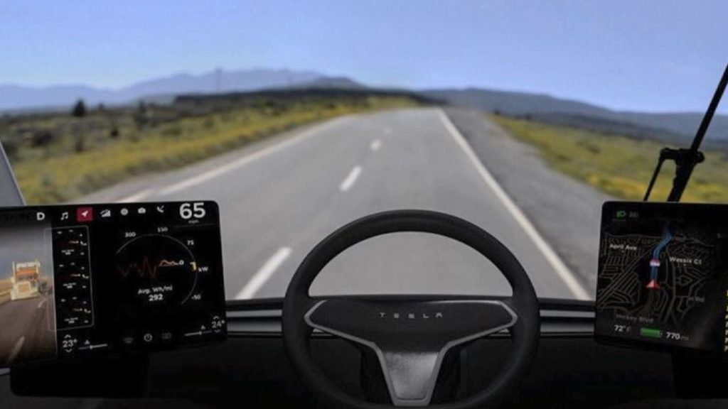 Электрогрузовик Tesla Semi кабина